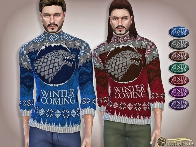 Sims 4 Winter Is Coming Knitted Christmas Sweater by Harmonia at TSR