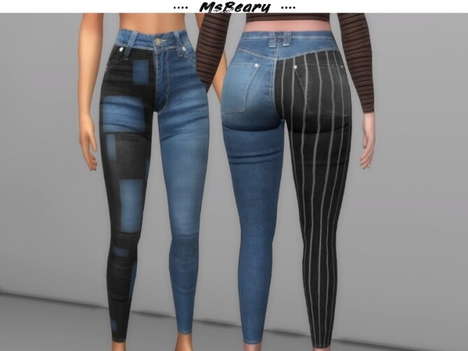 Sims 4 Two Tone Denim Jeans by MsBeary at TSR