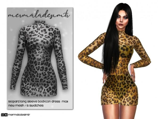 Sims 4 Leopard Long Sleeve Bodycon Dress MC111 by mermaladesimtr at TSR