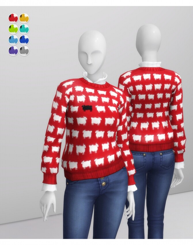 Sims 4 Sheep Pattern Sweater at Rusty Nail
