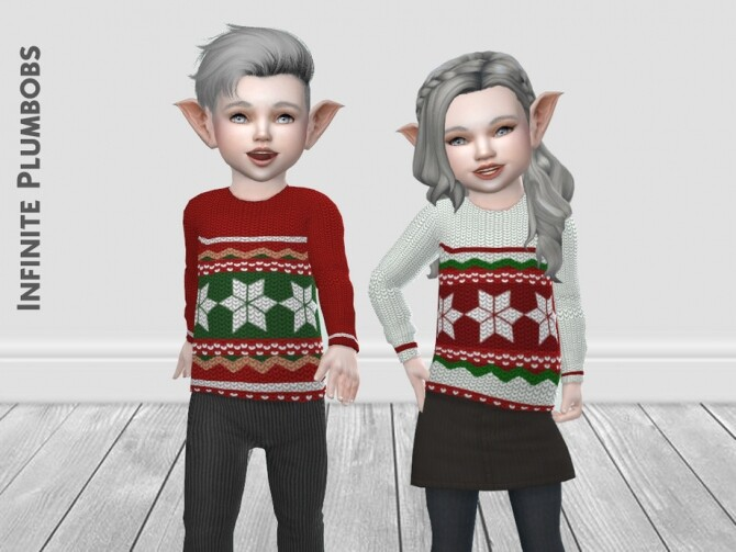 Sims 4 IP Toddler Christmas Knit Jumper by InfinitePlumbobs at TSR