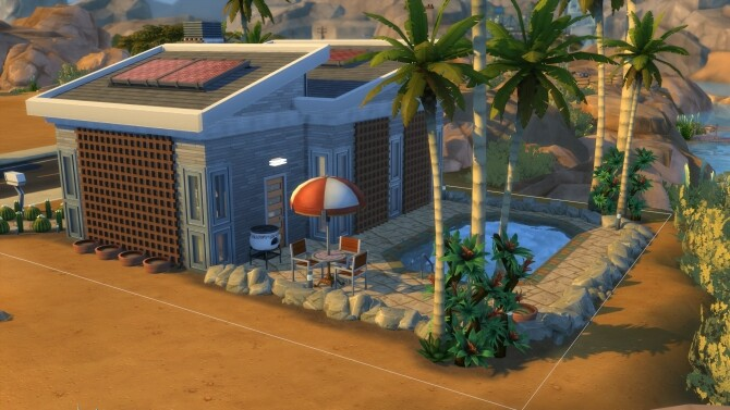 Sims 4 The Pebblestone Mid Century Modern Home by DominoPunkyHeart at Mod The Sims