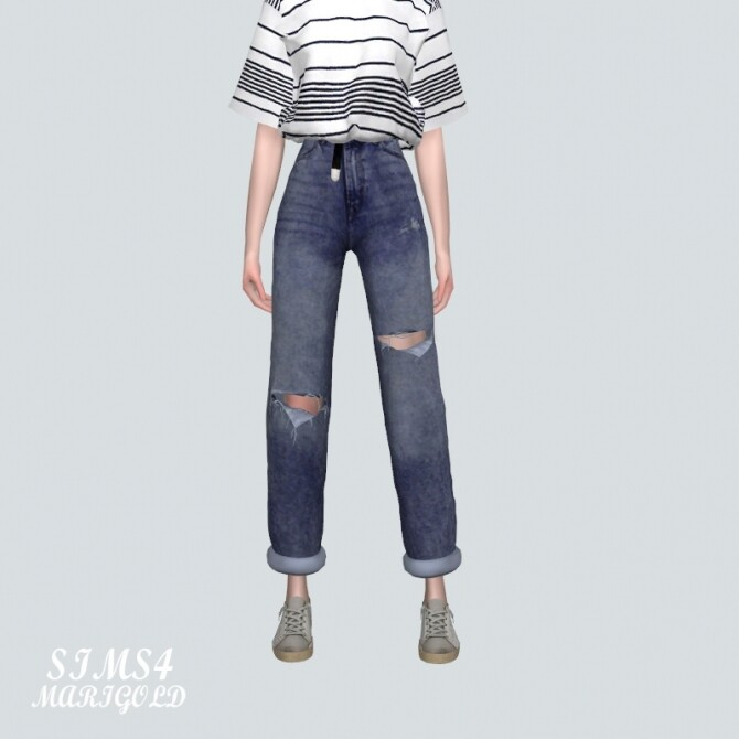 Sims 4 Ripped Jeans V2 With Belt at Marigold