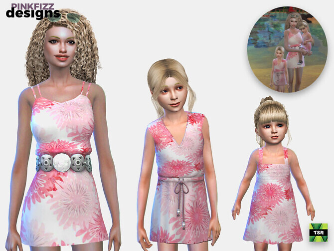 Sims 4 Mummy & Daughter Flower Set by Pinkfizzzzz at TSR