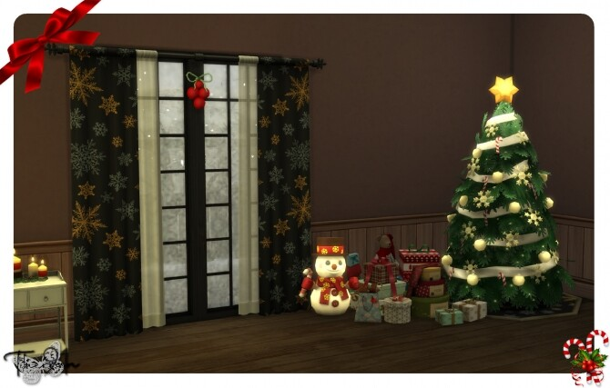 Sims 4 Christmas curtains in 19 various colors and patterns by therran91 at Mod The Sims