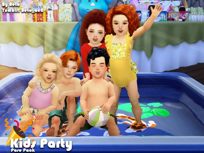 Sims 4 Kids party pose pack by Beto ae0 at TSR