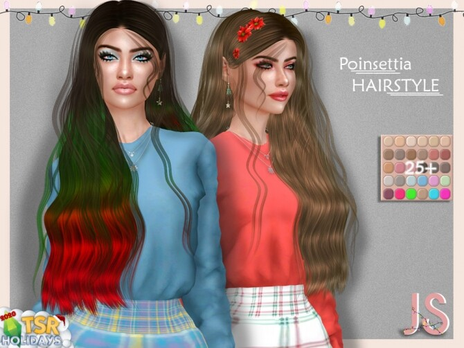 Holiday Wonderland Poinsettia Hairstyle by JavaSims