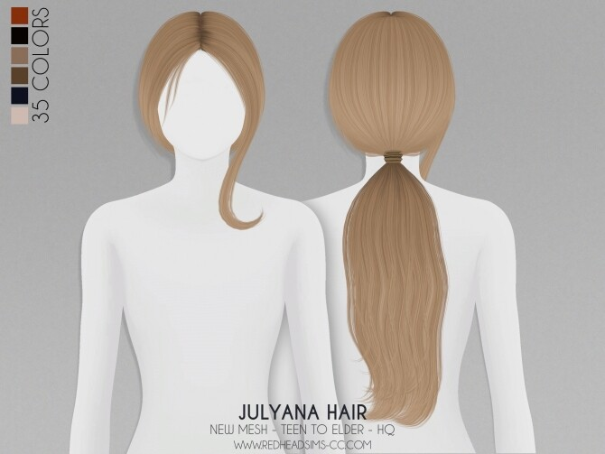 Sims 4 JULYANA HAIR + KIDS AND TODDLER VERSION at REDHEADSIMS