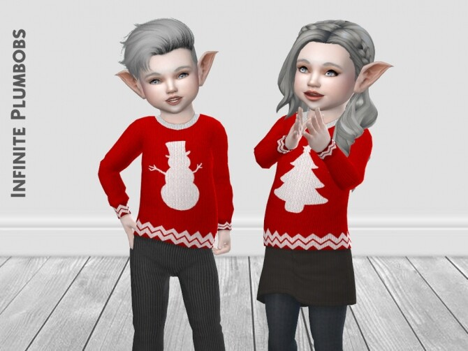 Sims 4 IP Toddler Christmas Silhouette Jumper by InfinitePlumbobs at TSR