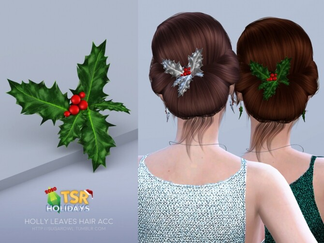 Sims 4 Holiday Wonderland Holly Leaves hair acc by sugar owl at TSR