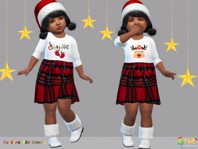 Sims 4 Holiday Wonderland Dress baby Carla by LYLLYAN at TSR