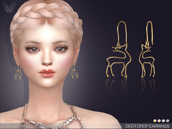 Sims 4 Deer Drop Earrings by feyona at TSR