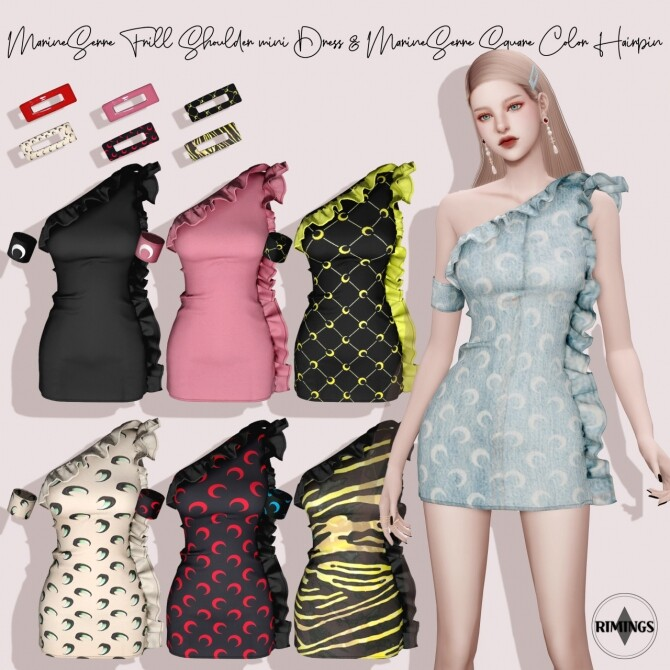 Sims 4 Frill Shoulder Mini Dress & Square Color Hairpin at RIMINGs