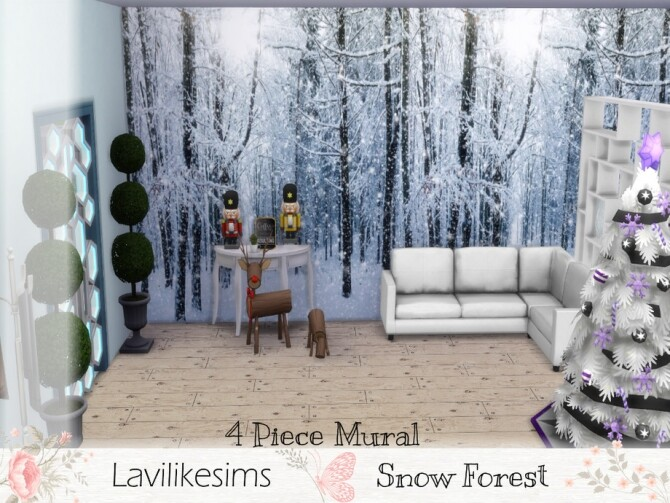 Sims 4 Snow Forest Mural by lavilikesims at TSR