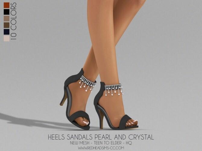 Sims 4 HEELS SANDALS PEARL AND CRYSTAL at REDHEADSIMS