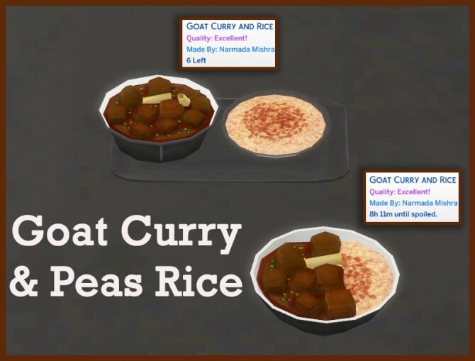 Sims 4 GOAT CURRY WITH RICE AND PEAS at Icemunmun