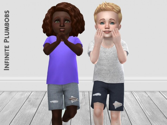 Sims 4 IP Toddler Ripped Jean Shorts by InfinitePlumbobs at TSR