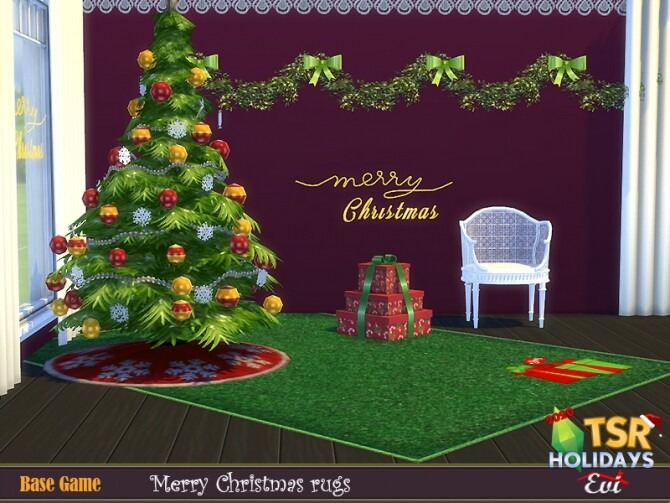 Sims 4 Christmas merry rugs by evi at TSR