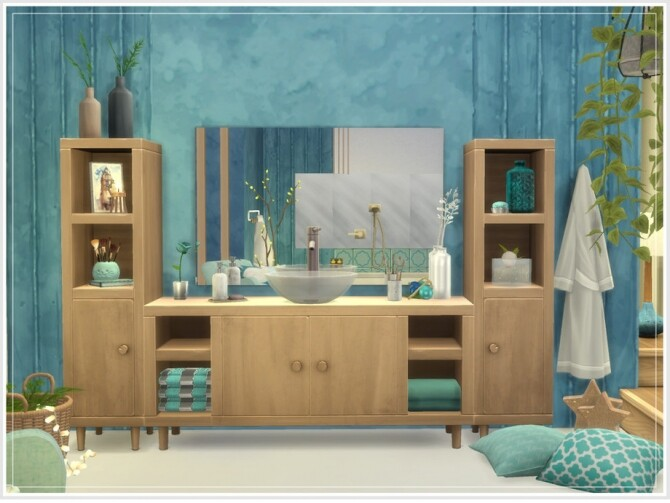 Sims 4 Holiday Wonderland Arctic Blue Bathroom by philo at TSR