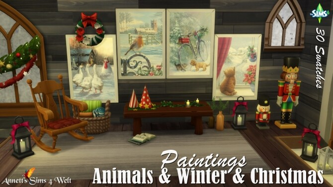 Animals Winter Christmas Paintings