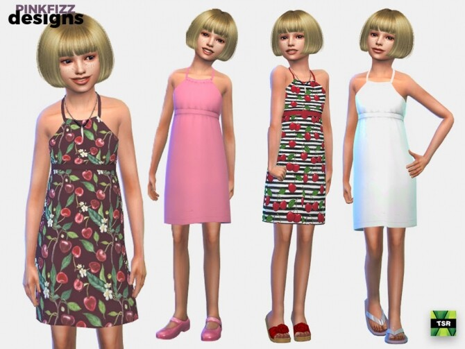 Sims 4 Junior Cherry Dress by Pinkfizzzzz at TSR