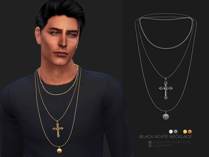 Sims 4 Black Agate necklace by sugar owl at TSR