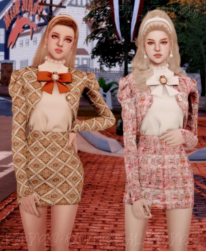 Sims 4 Elegance Tweed Twopiece at RIMINGs