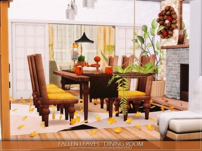 Sims 4 Fallen Leaves Dining Room by MychQQQ at TSR