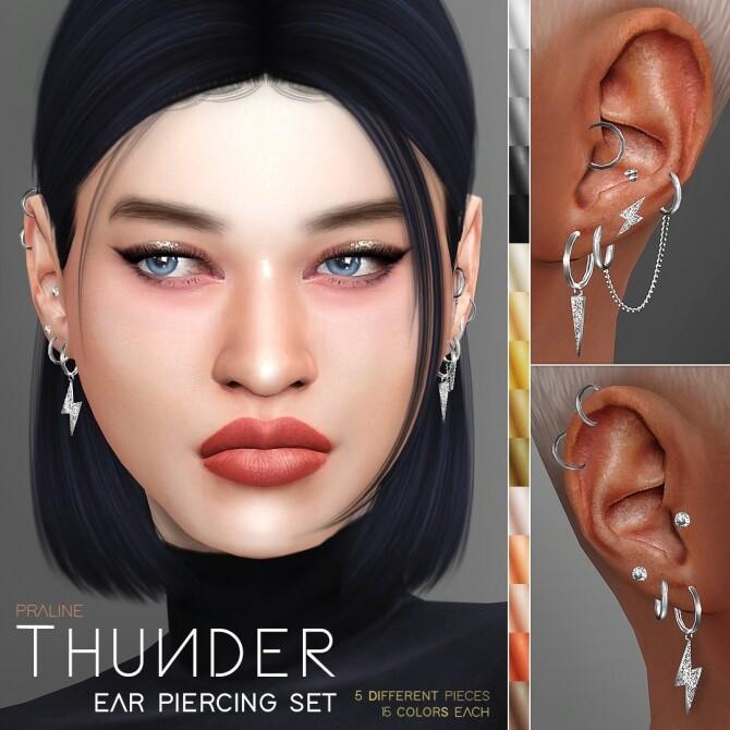 Sims 4 THUNDER Ear Piercing Set at Praline Sims