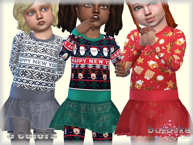 Sims 4 Dress Happy New Year by bukovka at TSR