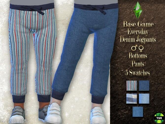 Sims 4 Toddler Denim Sweatpants by Pelineldis at TSR