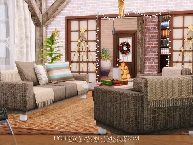 Sims 4 Holiday Season Living Room by MychQQQ at TSR