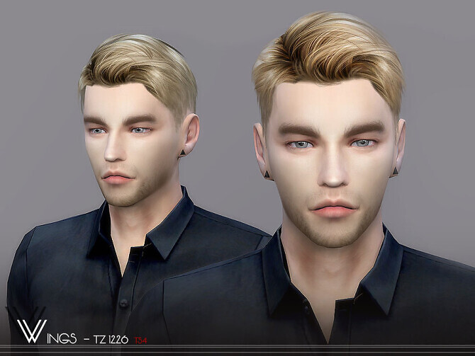 Sims 4 WINGS TZ1226 male hair by wingssims at TSR
