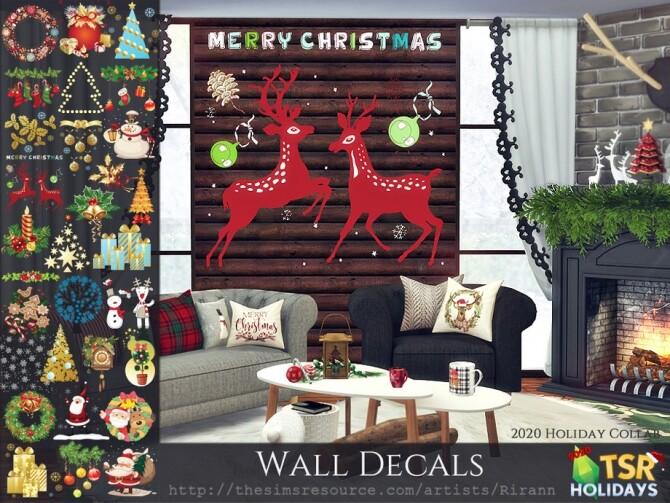 Sims 4 Holiday Wonderland Wall Decals by Rirann at TSR