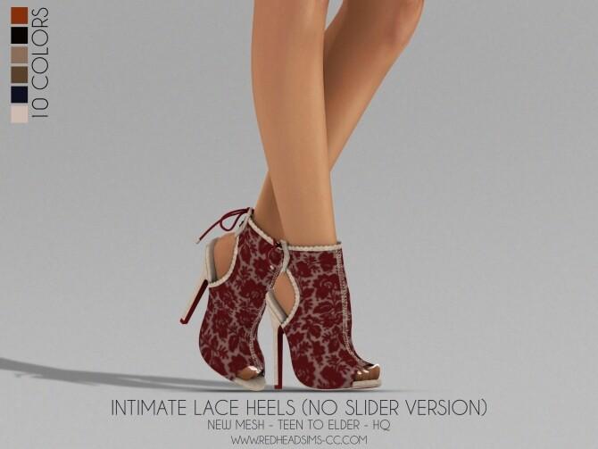 Sims 4 LACE HEELS (SLIDER AND NO SLIDER VERSIONS) at REDHEADSIMS