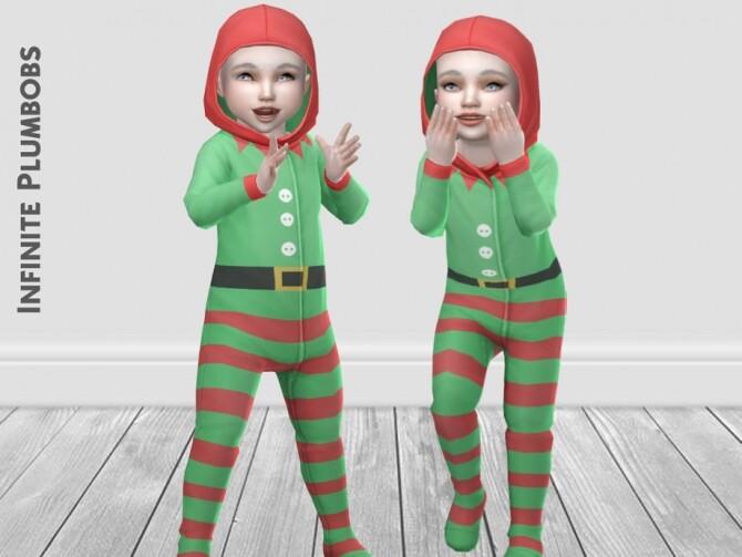 Sims 4 IP Toddler Christmas Elf Onesie by InfinitePlumbobs at TSR