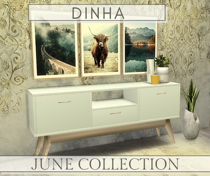 June Collection Sideboard Pillows Frames
