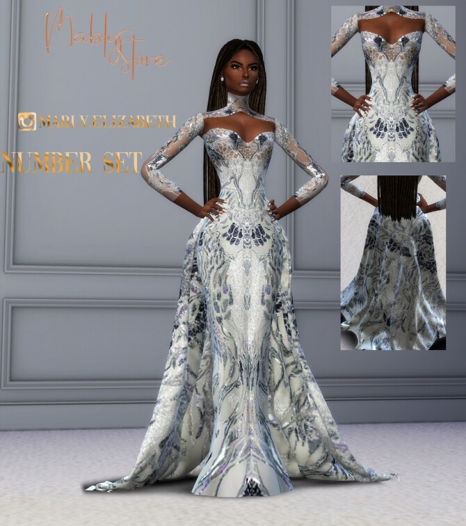 Sims 4 NUMBER GOWN AND ACC at Mably Store