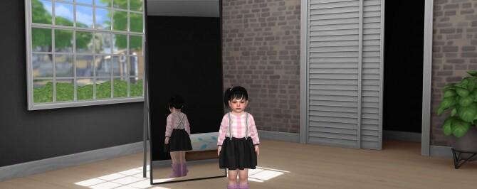 Sims 4 TODDLER T SHIRT SUSPENDER SKIRT at REDHEADSIMS