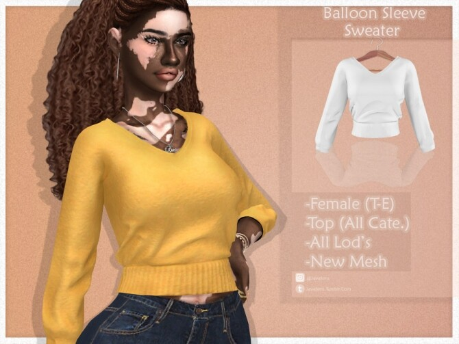 Sims 4 Balloon Sleeve Sweater by JavaSims at TSR