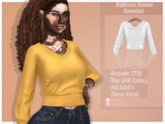 Balloon Sleeve Sweater by JavaSims