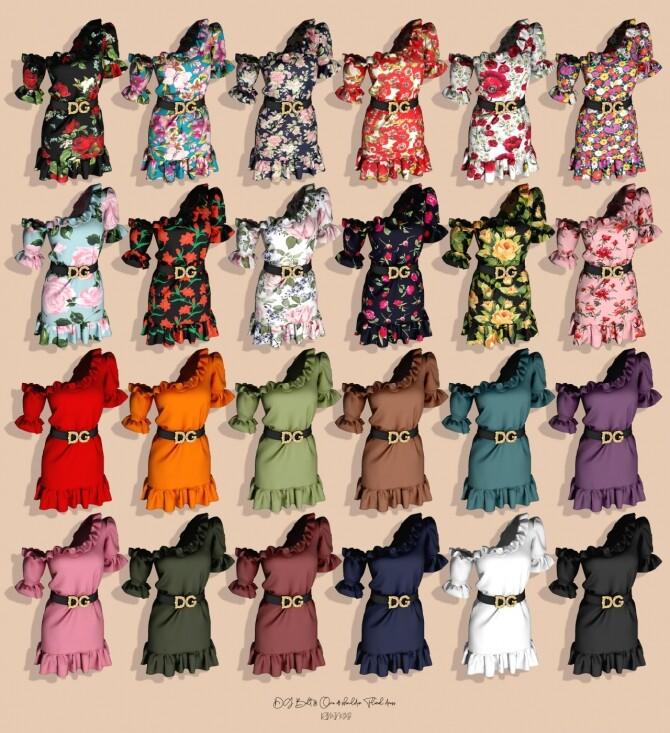 Sims 4 Belt & One off shoulder Floral Dress at RIMINGs