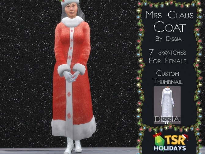 Sims 4 Mrs Claus Coat Holiday Wonderland by Dissia at TSR