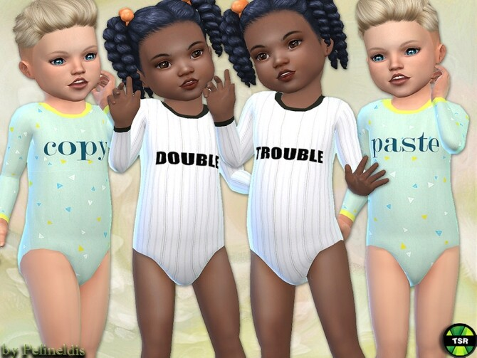 Sims 4 Toddler Bodysuit Twins by Pelineldis at TSR