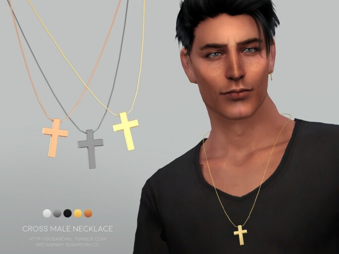 Cross male necklace by sugar owl at TSR image 411 670x503 Sims 4 Updates
