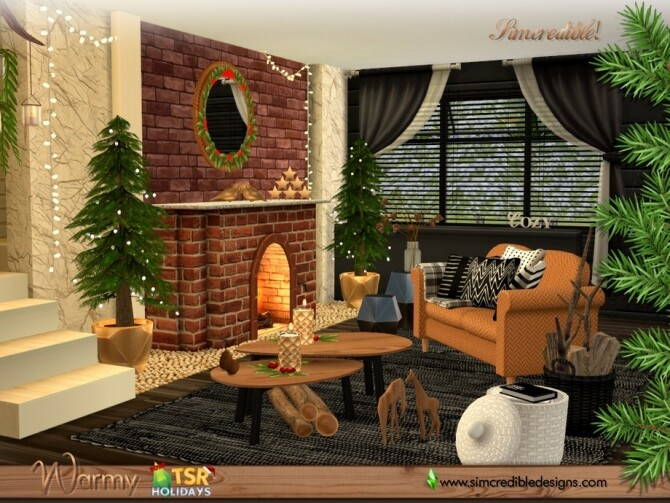 Sims 4 Holiday Wonderland Warmy living room by SIMcredible at TSR