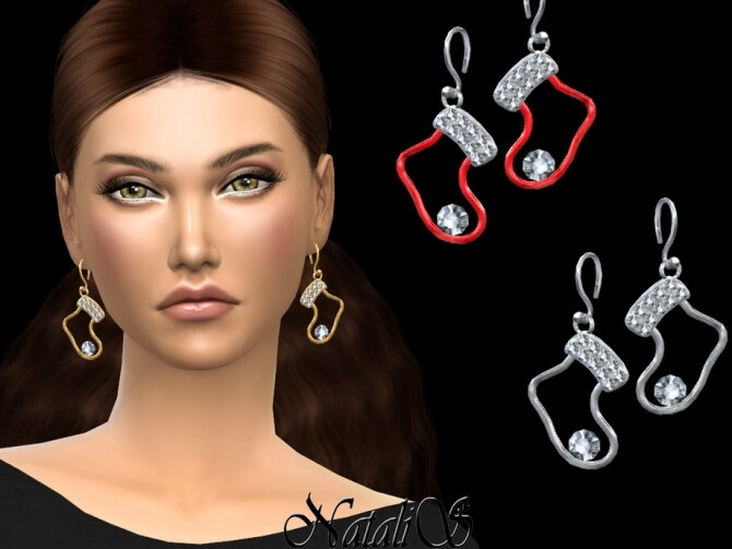 Sims 4 Christmas socks earrings by NataliS at TSR