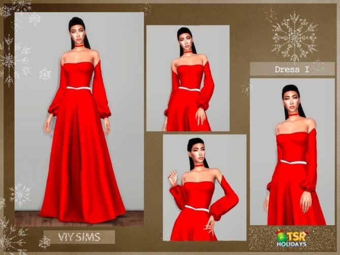 Sims 4 Dress VI Holiday Wonderland by Viy Sims at TSR