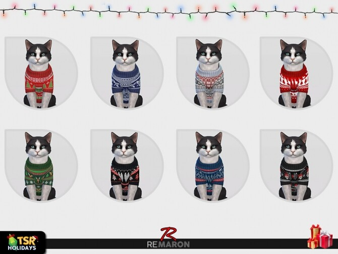 Sims 4 Christmas Sweater for Cats Holiday Wonderland by remaron at TSR