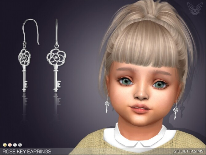 Sims 4 Rose Key Earrings For Toddlers by feyona at TSR